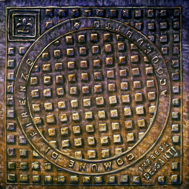 Ponte-Vecchio-at-6am Art by Dwight Manhole Cover Lifts on Canvas Florence Italy