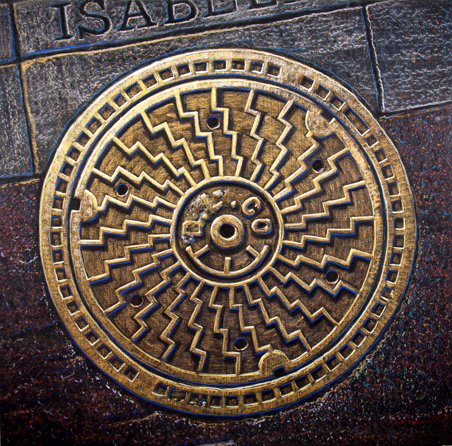 The Sister Bridges at 6am // Art by Dwight // Pittsburgh PA Manhole Cover Rubbing